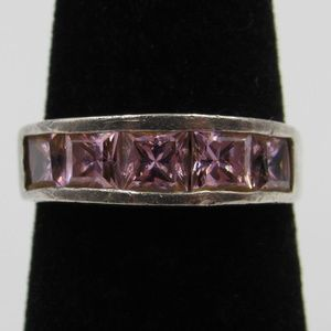 Vintage Size 6 Sterling Pink CZ Diamond Ring